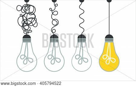 Simplification Concept Art With Light Bulb Idea. Simple And Creative Think Or Search Creative Idea.