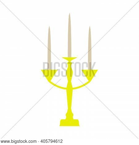 Golden Candle Flame Vector Illustration Light Candlestick. Isolated White Decoration Candlestick Obj