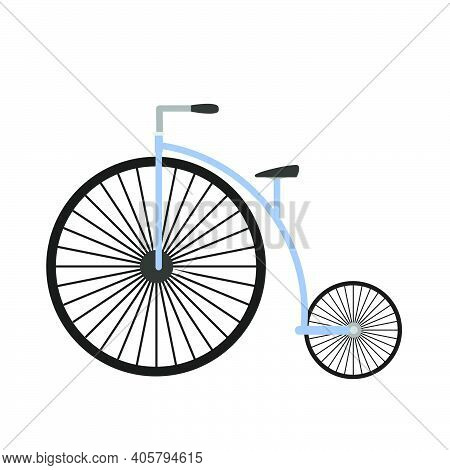 Retro Bicycle Wheel Illustration Design. Isolated White Ride Transportation Vehicle Travel. Vector B