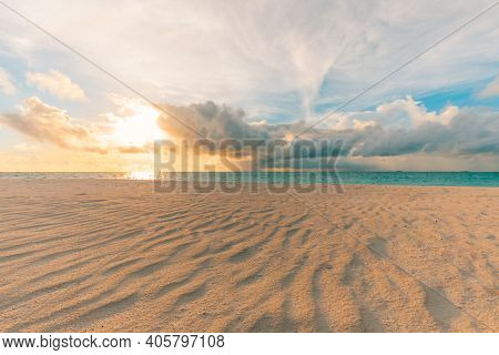 Closeup Of Sand On Beach And Blue Summer Sky. Panoramic Beach Landscape. Empty Tropical Beach And Se