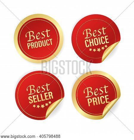 Modern Red Best Seller Choice, Price, Product And Seller Great Design For Any Purposes. Vector Illus