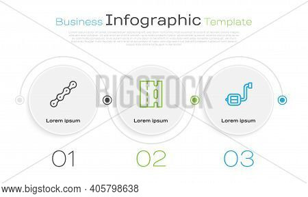 Set Line Bicycle Chain, Lane And Pedal. Business Infographic Template. Vector