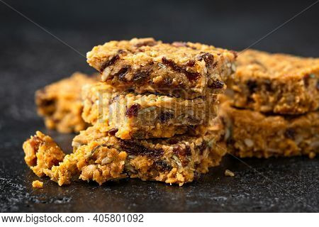 Healthy Protein Granola Flapjack Snack Bars With Seeds And Nuts