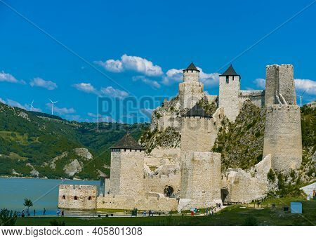 Golubac, Serbia - August 6, 2020: Golubac Fortress, A 14th Century Medieval Fortress On Danube River