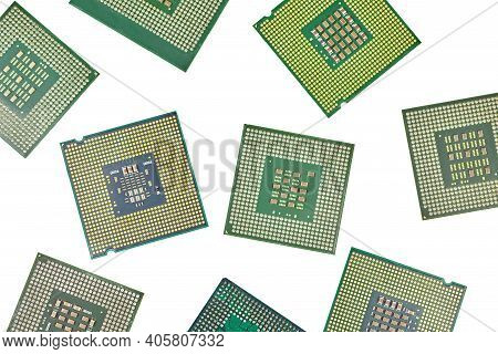 Bunch Of Cpu, Central Processor Units, Isolated Background. Main Electronic Circuitry For Computer.