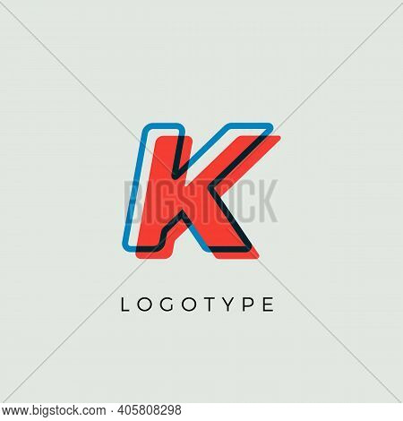 Stunning Letter K With 3d Color Contour, Minimalist Letter Graphic For Modern Comic Book Logo, Carto