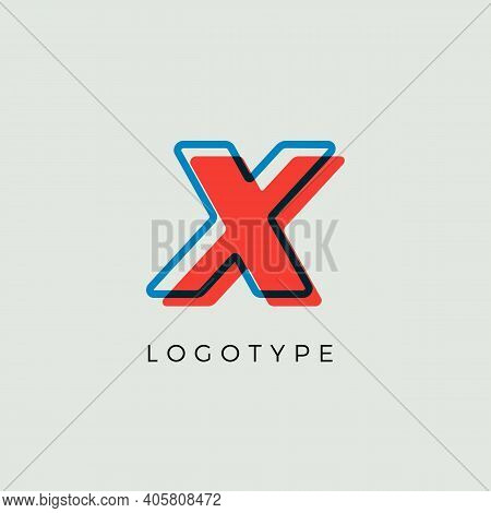 Stunning Letter X With 3d Color Contour, Minimalist Letter Graphic For Modern Comic Book Logo, Carto