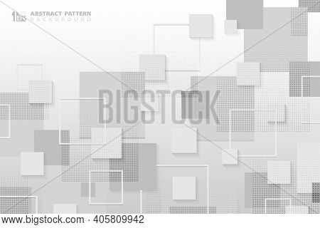 Abstract White And Gray Square Tech Pattern Design Of Technology With Halftone Template. Pattern Des