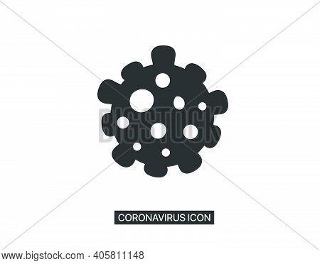 Coronavirus Vector Icon, 2019-ncov, Covid-2019, Covid-19 Novel Coronavirus Bacteria. Vector Icon Iso