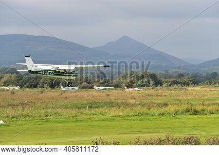 Co. Dublin, Ireland - September 20, 2020: Aircraft G-atzz Landing In Newcastle Aerodrome, Leamore Up