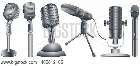 Microphones Collection In Realistic Style For Voice Record. Audio Technology, Musical Record Symbol.