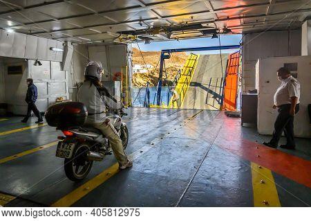 Folegandros, Greece - September 23, 2020: Interior Of Ferry Caldera Vista, High Speed Catamaran Owne