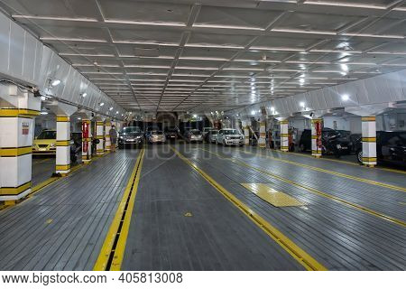 Folegandros, Greece - September 23, 2020: Interior Of Caldera Vista, High Speed Catamaran Owned By S