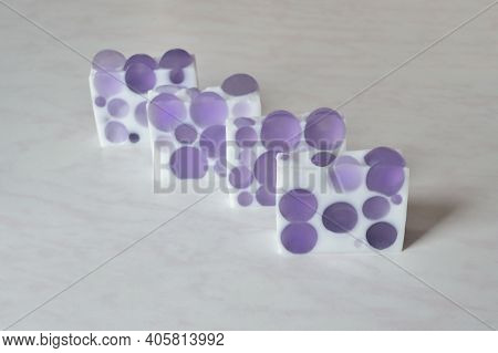 Four Pieces Of Original Handmade Soap With Lilac Balls