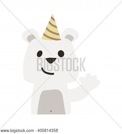 Cute Polar Bear With Party Hat - Waving - Flat Cartoony Vector Isolated
