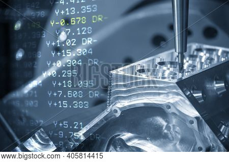 The Abstract  Scene Of 5-axis Machining Center And G-code Data Background. The 5-axis Milling Machin