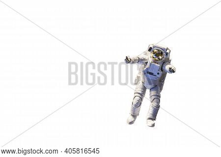 Statue Or Plastic Model Astronaut Or Spaceman Isolated On White Background With Clipping Path