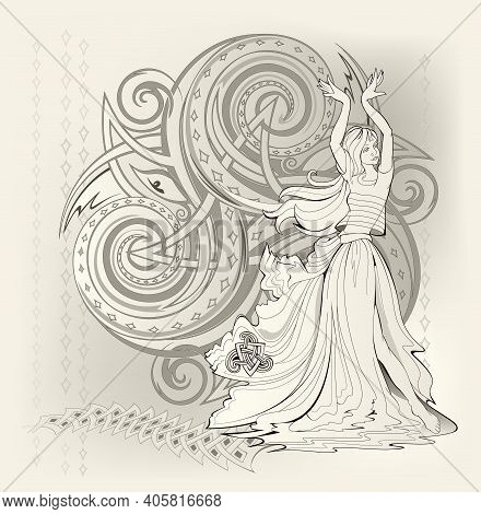 Fantasy Illustration Of Dancing Celtic Fairy And Triple Trickle Spiral Symbol. Abstract Background W