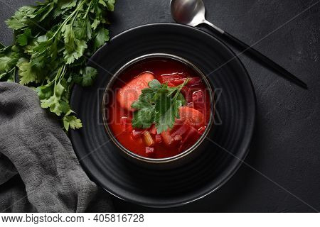 Hot Red Beet Kubbeh Soup, A Famous Middle Eastern Dumplings Soup Dish, Served In A Bowl. A Jewish-ir