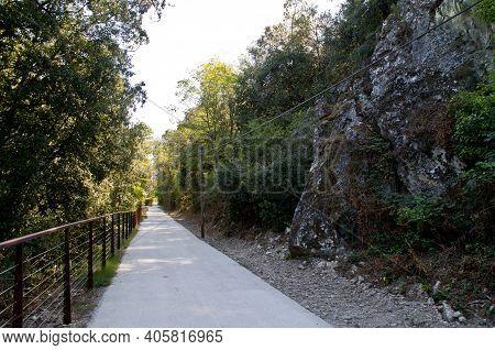 Hiking Trail La Dolce Via Near The Village Of La Voulte, France.