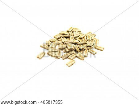 Top View Group Of Opo Gourd Or Calabash Squash Seeds Isolated On White Background