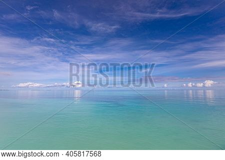 Relaxing Seascape With Wide Horizon Of The Sky And The Sea. Beautiful Seascape Panorama. Composition