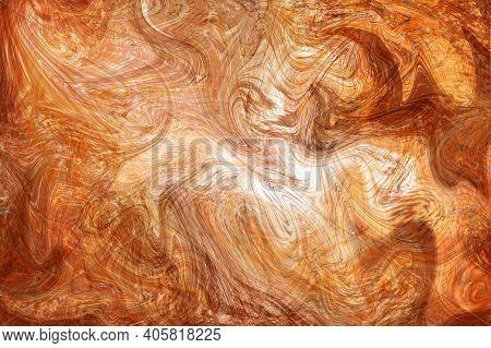 Golden Honey Fluid Illustration. Digital Marbling Card. Abstract Amber Fluid Art Background. Marble