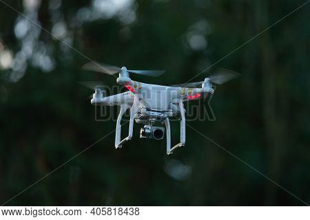 Great Malvern, United Kingdom, 27th December, 2020: Digital Camera Quadcopter With Gimbal Stabilisat