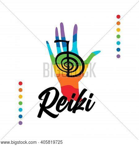 Healing Reiki Energi. Reiki Symbol. Logotype Spiritual Practice. The Colors Of The Chakras In The He