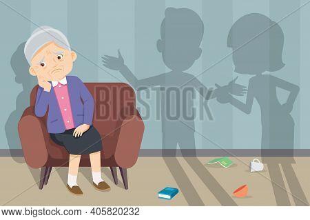 Sad Elderly Woman Sitting Sofa, Unhappy Family Couple Quarrelling On Background. Family Problems