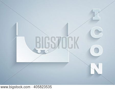 Paper Cut Skate Park Icon Isolated On Grey Background. Set Of Ramp, Roller, Stairs For A Skatepark.