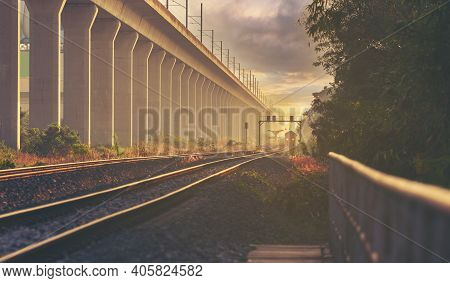 Railroad At Thailand Diesel Locomotive Train At Vintage Railroad With Sky