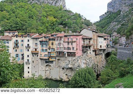 Houses On Rock In Pont-en-royons Village In France
