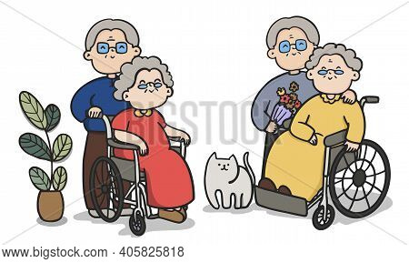Cartoon Old People Couple, Couples To Spend Time Together, Valentine's Day, Couple Illustrations.