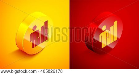 Isometric Productive Human Icon Isolated On Orange And Red Background. Idea Work, Success, Productiv