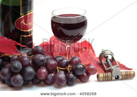 Red Wine And Wine Bottle