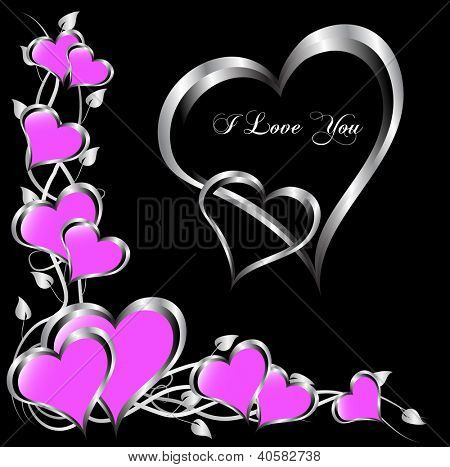 A vector valentines background  a large central hearts on a mauve background