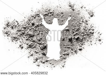 Jesus Christ Silhouette Drawing Made In Ash, Sand Or Dust As Resurrected God Of Love With Hug Hand,