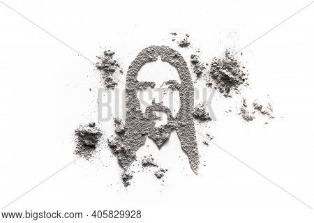 Jesus Face Drawing Made In Ash Or Dust As Ash Wednesday Or Lent Symbor, Holy Suffering And Redemptio