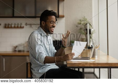 Excited Black Man Read Official Letter About Admission To College