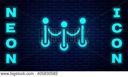 Glowing Neon Rope Barrier Icon Isolated On Brick Wall Background. Vip Event, Luxury Celebration. Cel