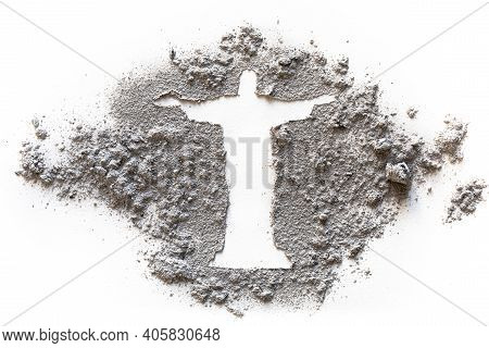 Jesus Silhouette Drawing Made In Ash, Dust Or Sand As Ash Wednesday, Lent Or Easter Concept, Rio Sta