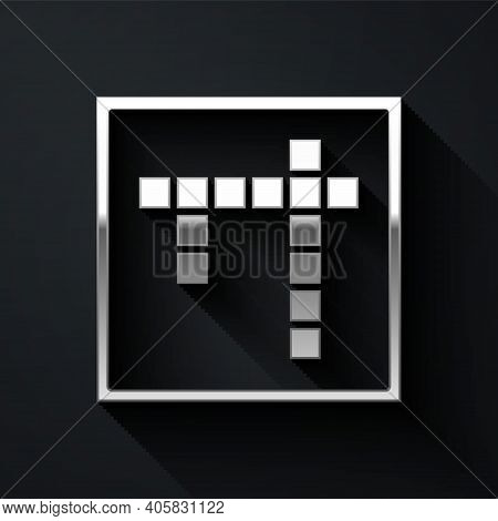 Silver Bingo Icon Isolated On Black Background. Lottery Tickets For American Bingo Game. Long Shadow