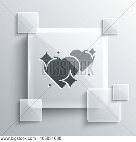 Grey Two Linked Hearts Icon Isolated On Grey Background. Romantic Symbol Linked, Join, Passion And W