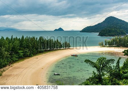 Aerial View Of Beautiful Beach In Kam Tok Island, Ranong, Thailand