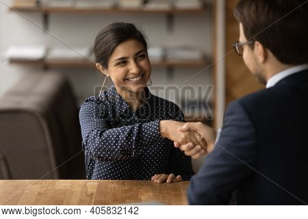 Happy Indian Female Shaking Hand Of Male Hr Getting Job
