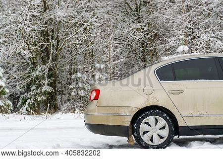 The Car Broke Down In The Winter Forest. The Car Got Stuck In The Winter In The Cold.