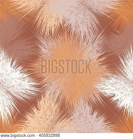 Seamless Pattern With Grunge Shaggy Square Elements In Brown, Orange, White, Beige Pastel Colors For