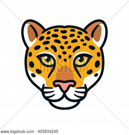 Cartoon Jaguar Or Leopard Head. Wild Big Cat Face Symbol, Mascot Or Logo Design. Isolated Vector Ill