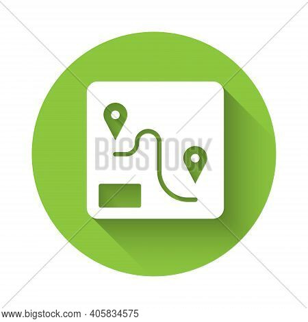 White Route Location Icon Isolated With Long Shadow. Train Line Path Of Train Road Route With Start